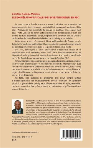 4eme Les exonérations fiscales des investissements en RDC