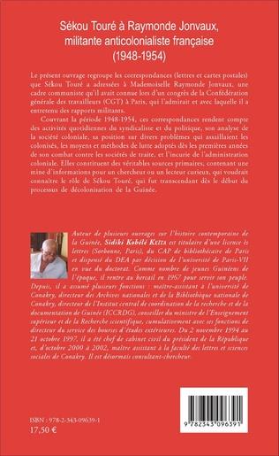 4eme Sékou Touré à Raymonde Jonvaux, militante anticolonialiste française