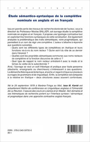 4eme Etude sémantico-syntaxique de la complétive nominale en anglais et en français