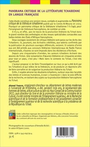 4eme Panorama critique de la littérature tchadienne en langue française