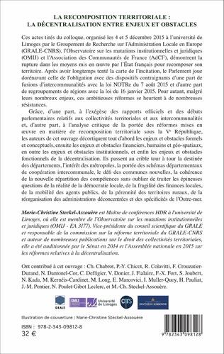 4eme La recomposition territoriale : la décentralisation entre enjeux et obstacles