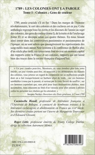 4eme 1789 : les colonies ont la parole Anthologie Tome 1