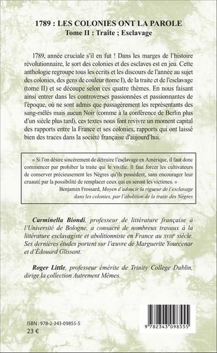 4eme 1789 : les colonies ont la parole Anthologie tome 2