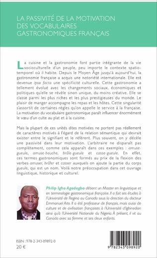 4eme La passivité de la motivation des vocabulaires gastronomiques français