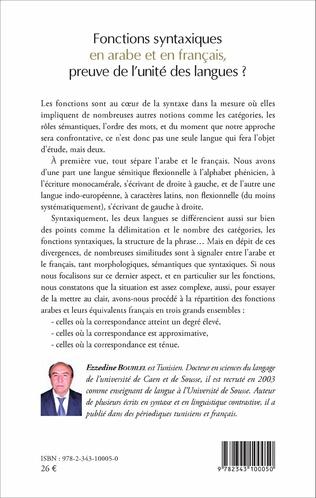 4eme Fonctions syntaxiques en arabe et en français, preuve de l'unité des langues ?