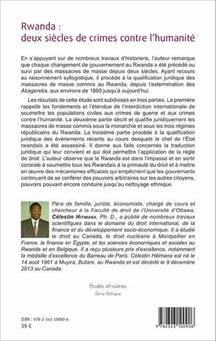 4eme Rwanda : deux siècles de crime contre l'humanité