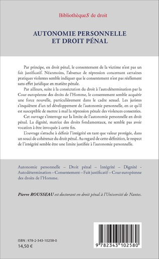 4eme Autonomie personnelle et droit pénal