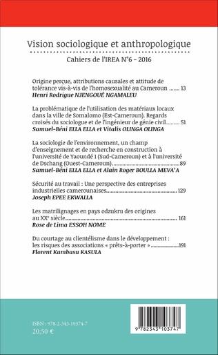 4eme La sociologie de l'environnement, un champ d'enseignement et de recherche en construction à l'université de Yaoundé 1 (Sud-Cameroun) et à l'université de Dschang (Ouest-Cameroun)
