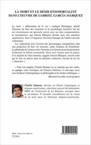 4eme La mort et le désir d'immortalité dans l'oeuvre de Gabriel García Márquez