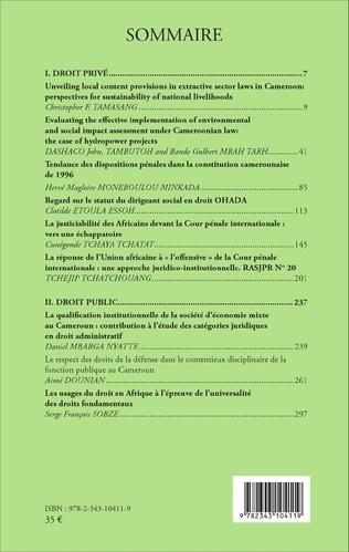 4eme Revue africaine des sciences juridiques N° 1/2016