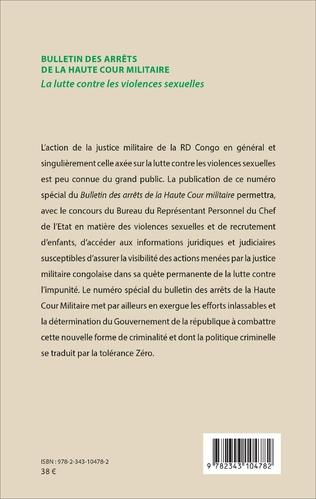 4eme Bulletin des arrêts de la haute cour militaire
