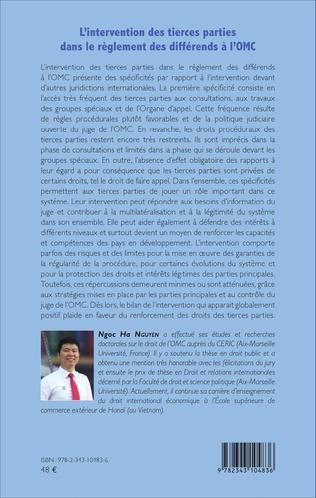 4eme L'intervention des tierces parties dans le règlement des différends à l'OMC