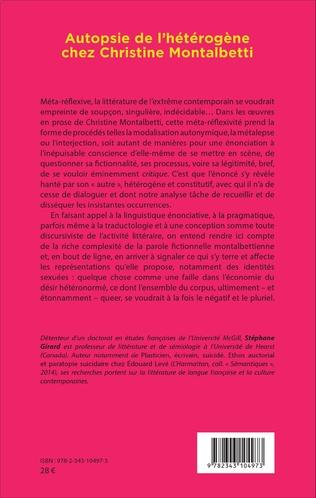 4eme Autopsie de l'hétérogène chez Christine Montalbetti