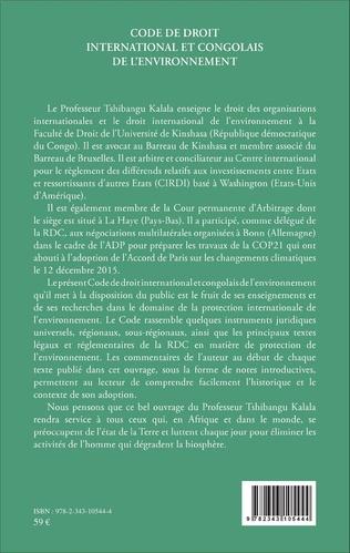 4eme Code de droit international et congolais de l'environnement