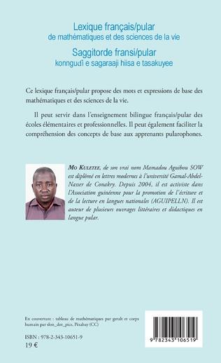 4eme Lexique français / pular de mathématiques et des sciences de la vie