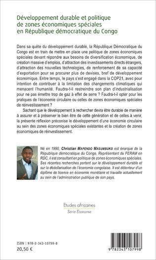 4eme Développement durable et politique de zones économiques spéciales en République démocratique du Congo