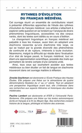4eme Rythmes d'évolution du français médiéval