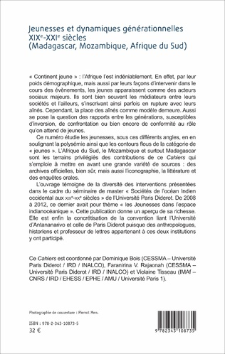 4eme Jeunesses et dynamiques générationnelles XIXe-XXIe siècles (Madagascar, Mozambique, Afrique du Sud)
