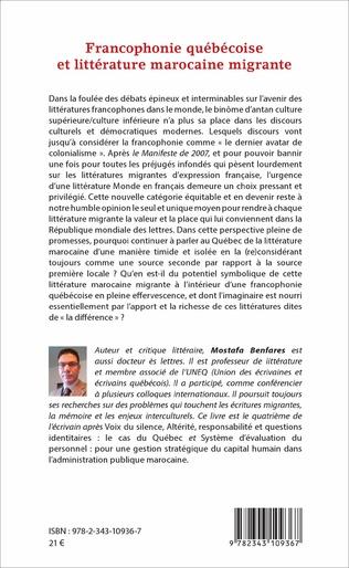 4eme Francophonie québécoise et littérature marocaine migrante