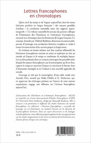 4eme Lettres francophones en chronotopes