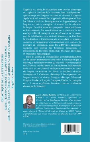 4eme Didactique de la littérature dans l'enseignement et l'apprentissage des langues étrangères en Afrique au Sud du Sahara