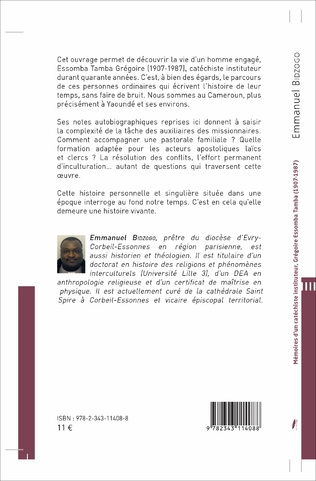 4eme Mémoires d'un catéchiste instituteur, Grégoire Essomba Tamba