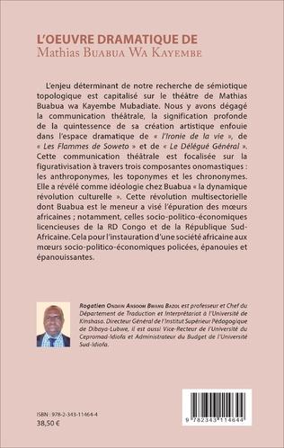 4eme L'oeuvre dramatique de Mathias Buabua Wa Kayembe