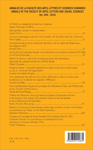 4eme Annales de la faculté des arts, lettres et sciences humaines Vol XVII - 2016