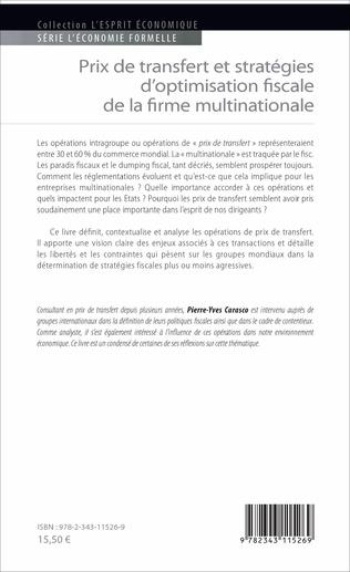 4eme Prix de transfert et stratégies d'optimisation fiscale de la firme multinationale
