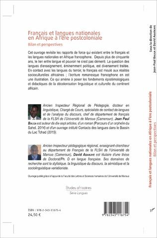 4eme Français et langues nationales en Afrique à l'ère postcoloniale