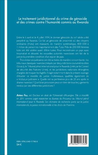 4eme Traitement juridictionnel du crime de génocide et des crimes contre l'humanité commis au Rwanda