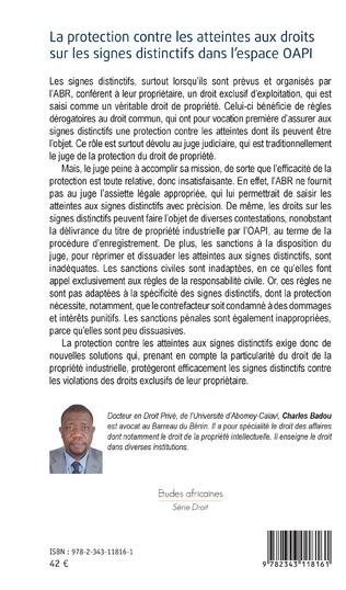 4eme La protection contre les atteintes aux droits sur les signes distinctifs dans l'espace OAPI