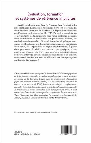 4eme Évaluation, formation et systèmes de référence implicites