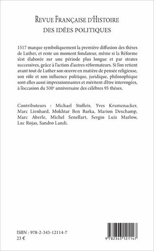 4eme REVUE FRANCAISE (45) D'HISTOIRE DES IDEES POLITIQUES