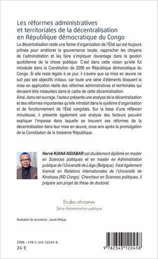 4eme Les réformes administratives et territoriales de la décentralisation en République démocratique du Congo