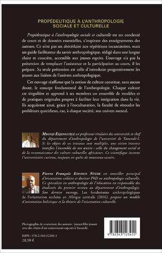 4eme Propédeutique à l'anthropologie sociale et culturelle