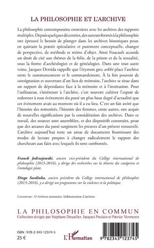 4eme La philosophie et l'archive