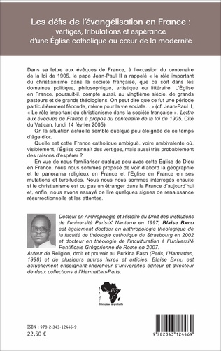 4eme Les défis de l'évangélisation en France :
