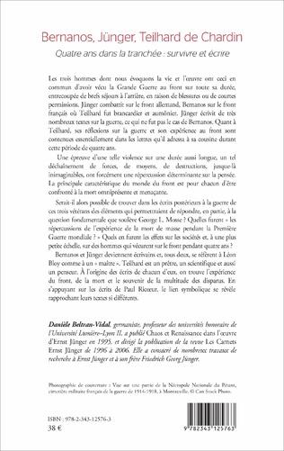4eme Bernanos, Jünger, Teilhard de Chardin