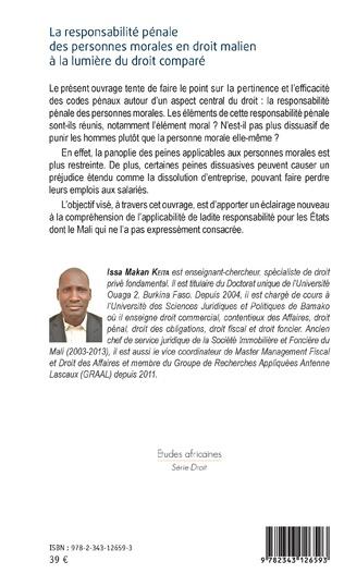 4eme La responsabilité pénale des personnes morales en droit malien à la lumière du droit comparé