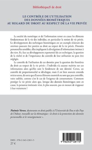 4eme Le contrôle de l'utilisation des données biométriques au regard du droit au respect de la vie privée