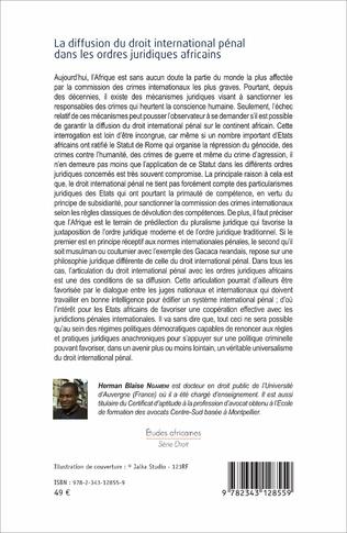 4eme La diffusion du droit international pénal dans les ordres juridiques africains