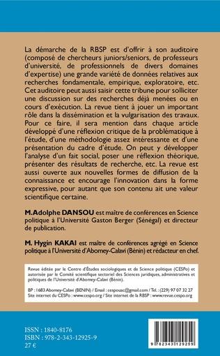 4eme Revue béninoise de Science politique (RBSP)