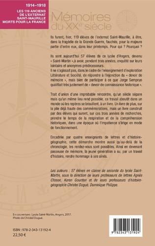 4eme 1914-1918. Les 119 anciens de l'externat Saint-Maurille morts pour la France