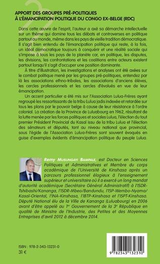 4eme Apport des groupes pré-politiques à l'émancipation politique du Congo ex-belge (RDC)