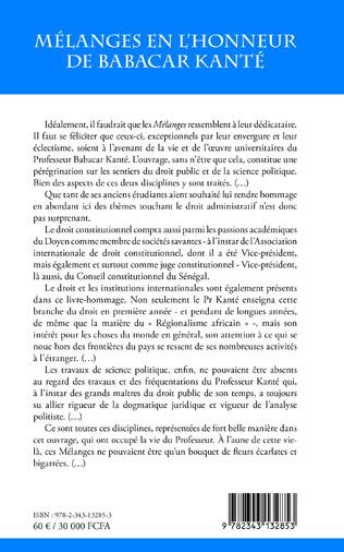 4eme Mélanges en l'honneur de Babacar Kanté