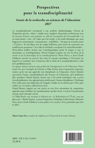 4eme Perspectives pour la transdisciplinarité
