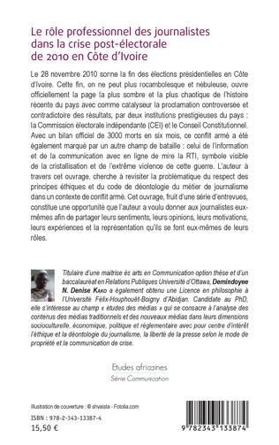 4eme Le rôle professionnel des journalistes dans la crise post-électorale de 2010 en côte d'Ivoire