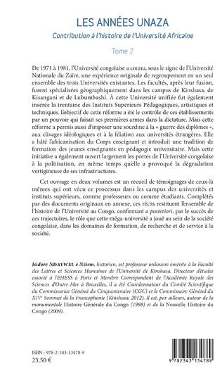 4eme Les années unaza (Université nationale du Zaïre) (Tome 2)