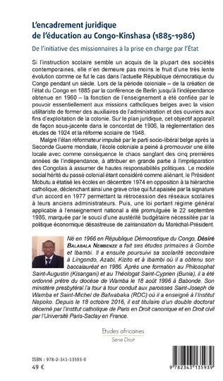 4eme L'encadrement juridique de l'éducation au Congo-Kinshasa (1885-1986)